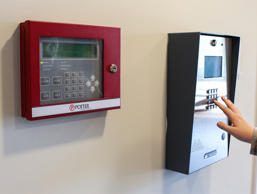 Entrance lock keypad.